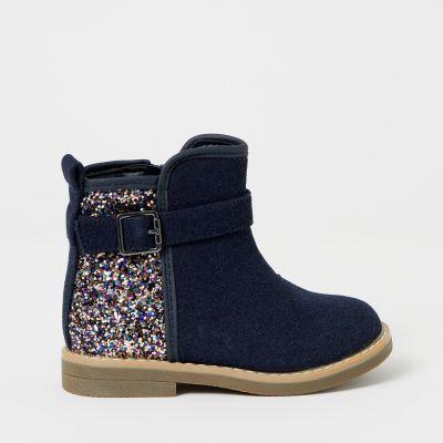 bluezoo Girls' Navy Glitter Boots