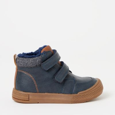 bluezoo Boys' Navy Sherpa Trim Boots