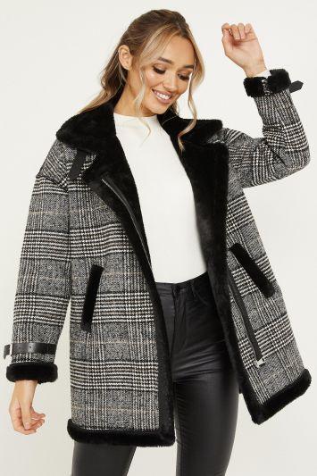 Quiz Grey Check Faux Fur Collar Coat
