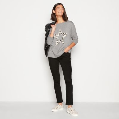 Principles Grey Dalmatian Star Print Knitted Jumper