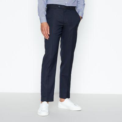1778 Navy Basketweave Textured Slim Fit Trousers